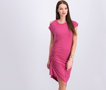 Dkny Women's Cold Shoulder With Side Ruching Dress, Mauve