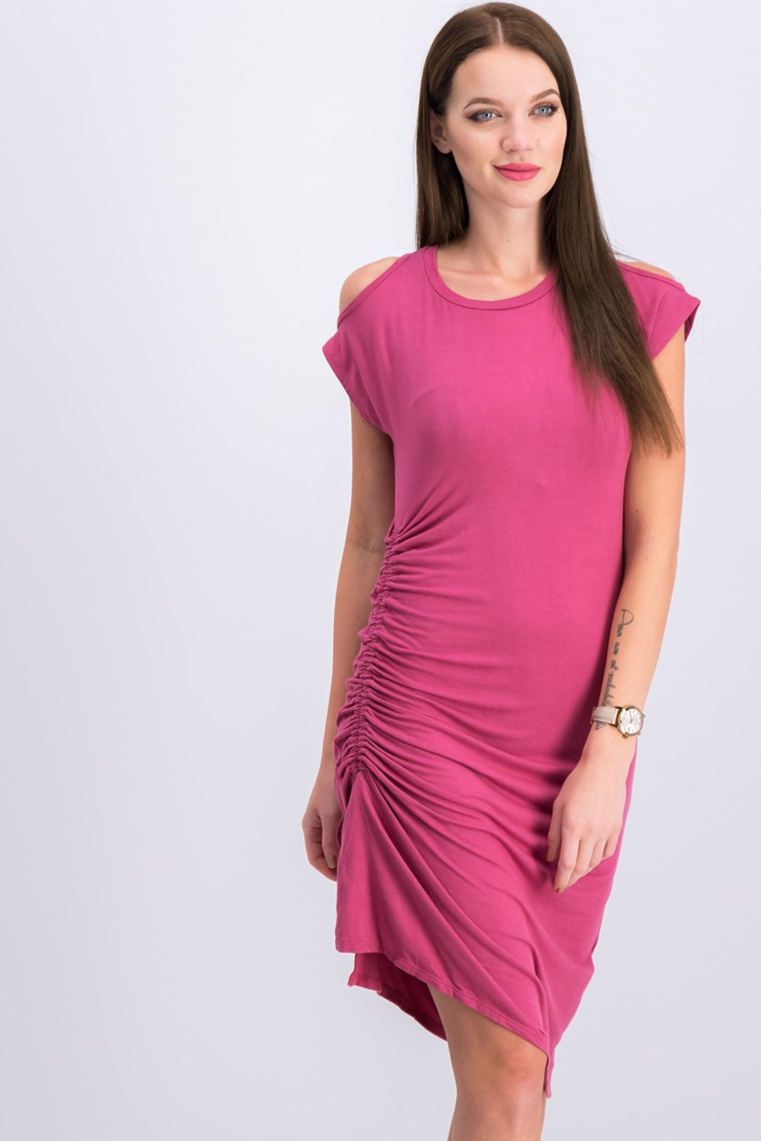 Women's Cold Shoulder With Side Ruching Dress, Mauve