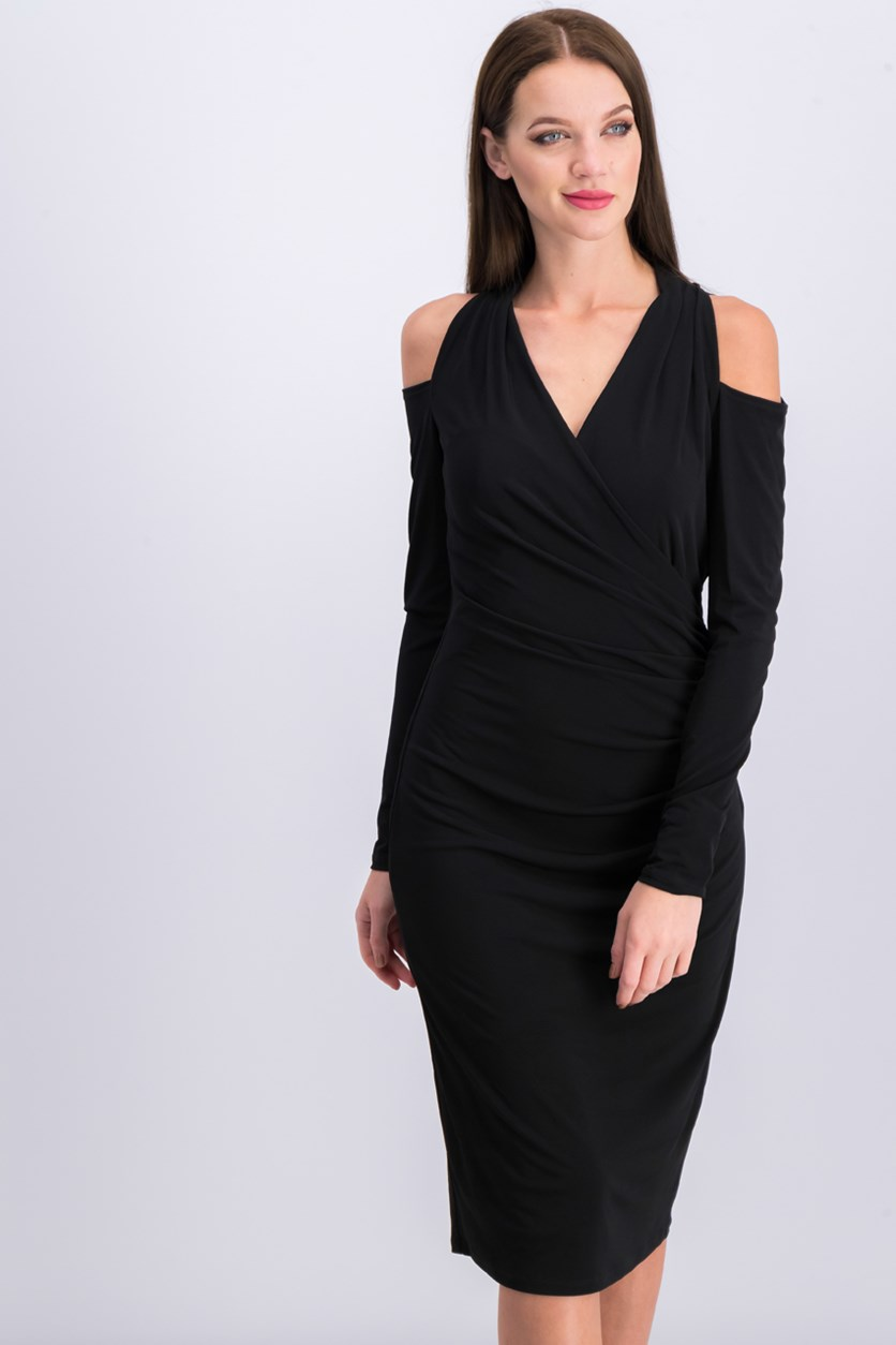 Women's Cold Shoulder Long Sleeve Dress, Black