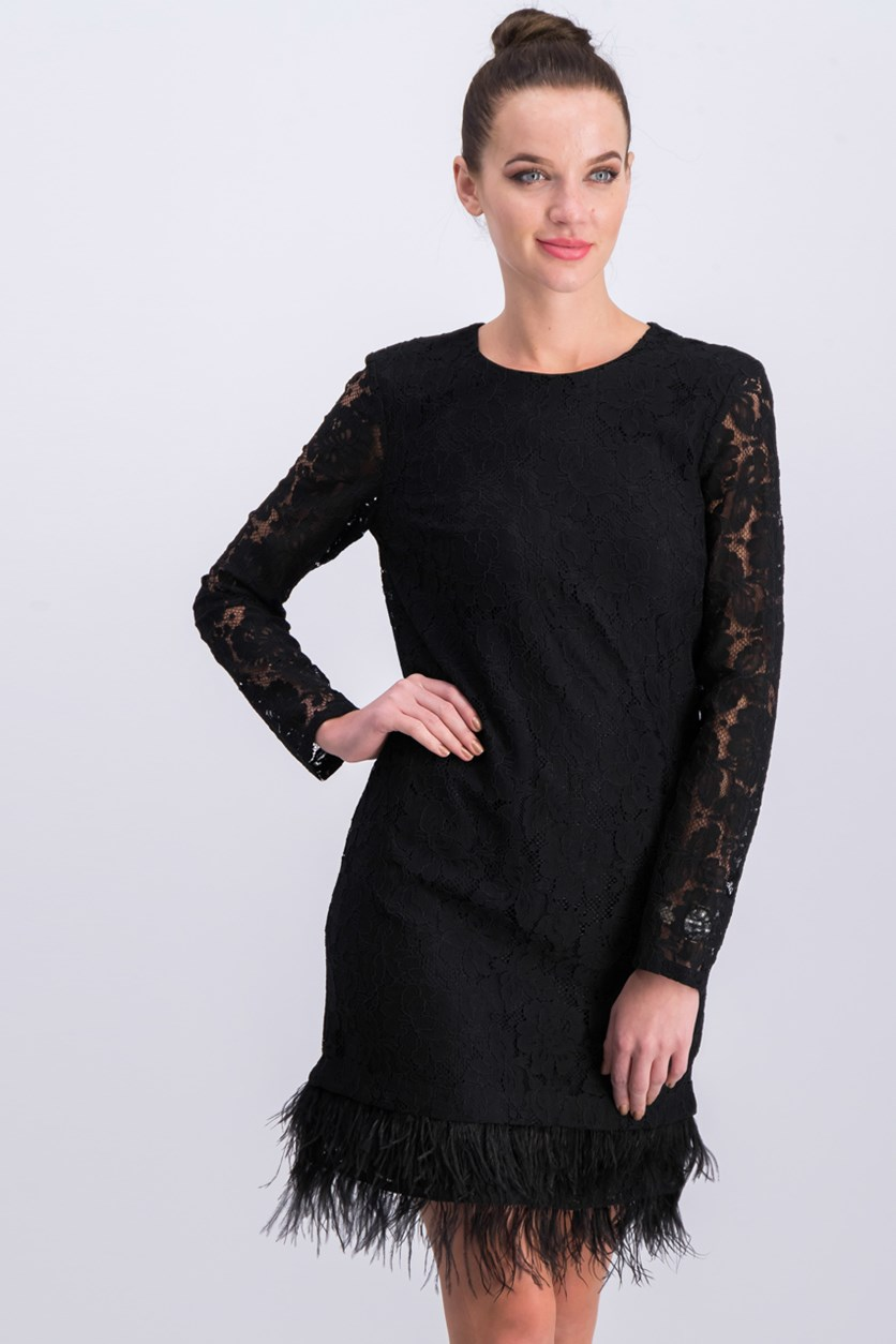 Women's Longsleeve Lace Detail Dress, Black