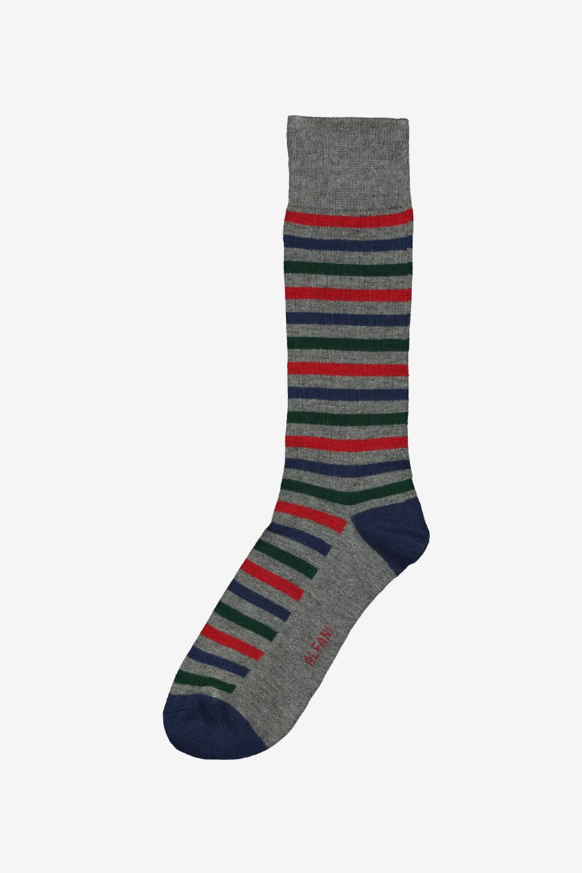 Mens Striped Socks, Grey/Blue/red