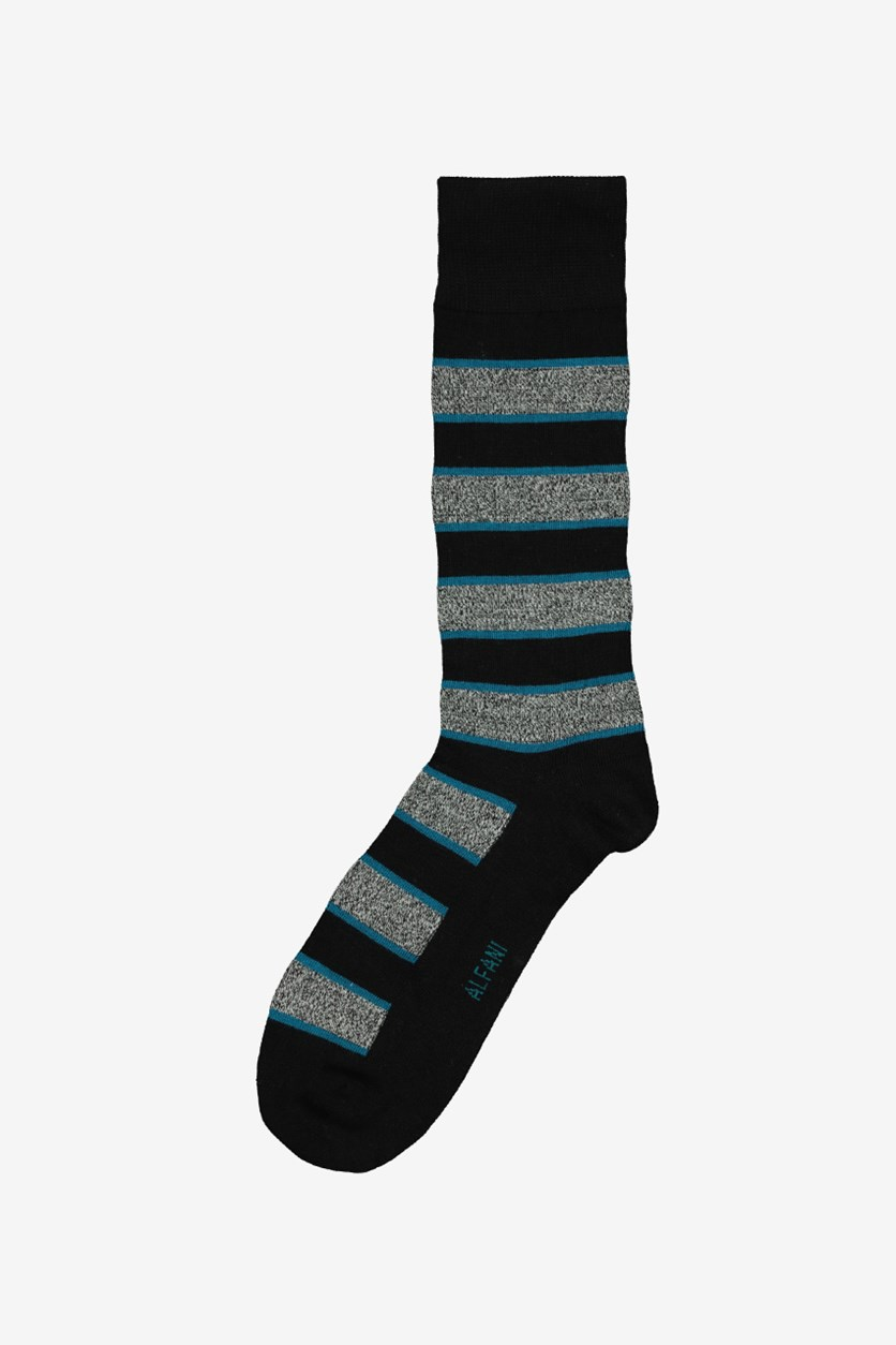 Mens Pop Stripe Socks, Teal/Black