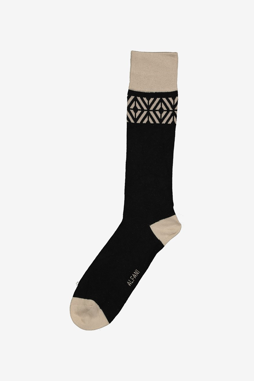 Men's Tiled Socks, Black/Tan