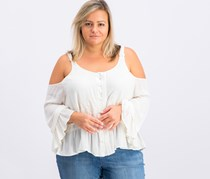 Jessica Simpson Plus Size Cold-Shoulder Peasant Top, Whisper White