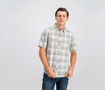Jack O'Neill Men's High Tide Short Sleeve Plaid Shirt, Slate Brown