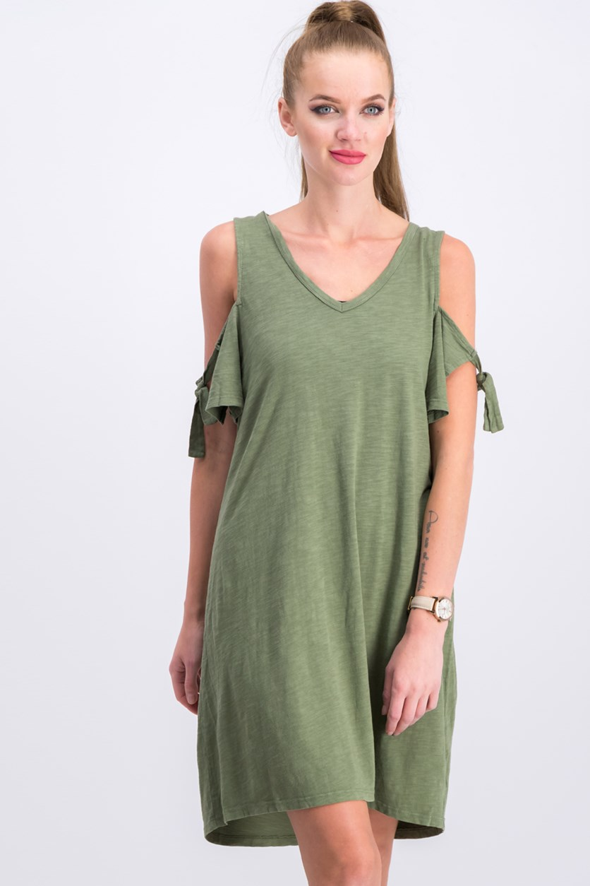 Lakeside Tie-Sleeve Cold-Shoulder Dress, Cadet