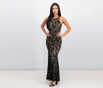 Vince Camuto Sequined Lace Godet-Pleated Gown, Black