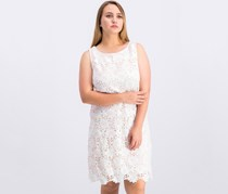 Sleeveless Floral Lace Shift Dress, White