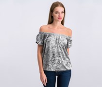 Hippie Rose Juniors' Off-The-Shoulder Crushed Velvet Top, Silver