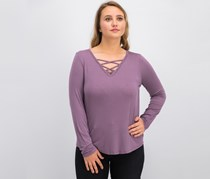 Hippie Rose Juniors Long-Sleeve Lace-Up Top, Lilac