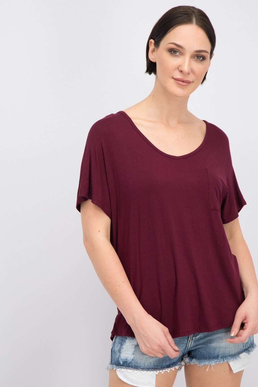 Juniors' V-Neck T-Shirt, Burgundy