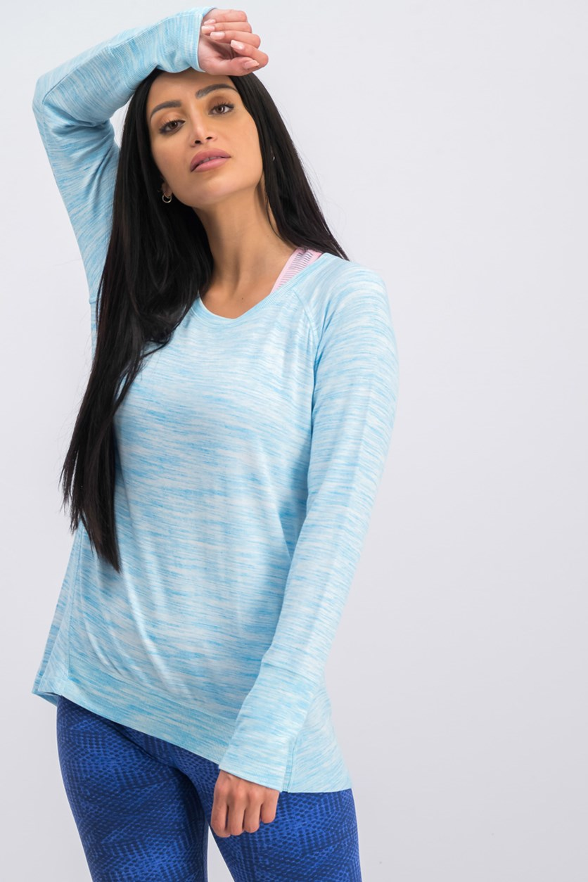 Women's Space Dye Tops, Blue Jewel