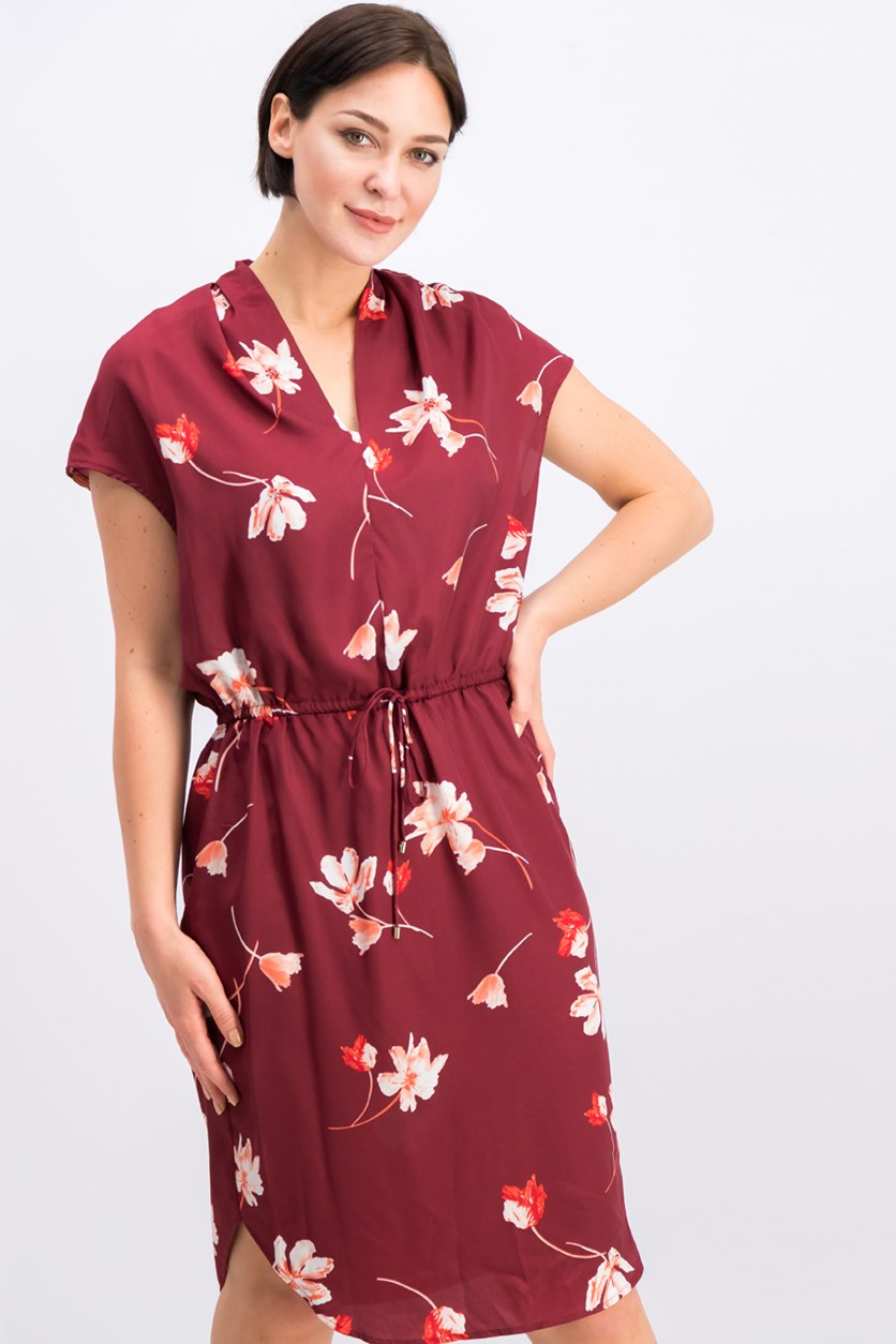 Floral-Print Drawstring Dress, Maroon Combo