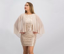 Alex Evenings Women Sequined Chiffon Cape Dress, Cameo Beige
