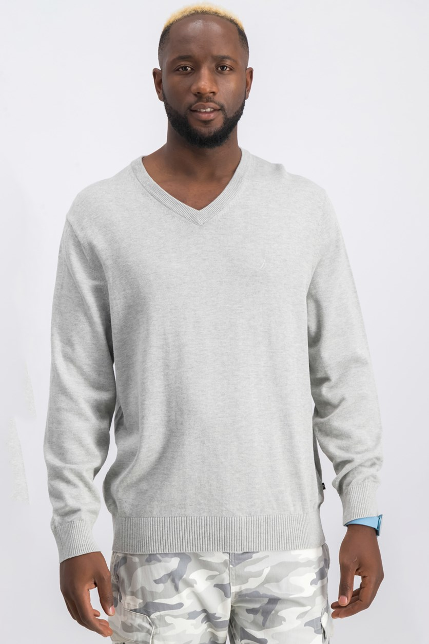 Men's V-Neck Classic Fit Sweater, Grey Heather