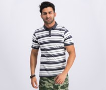 Hurley Mens Sonny Striped Polo, White/Charcoal