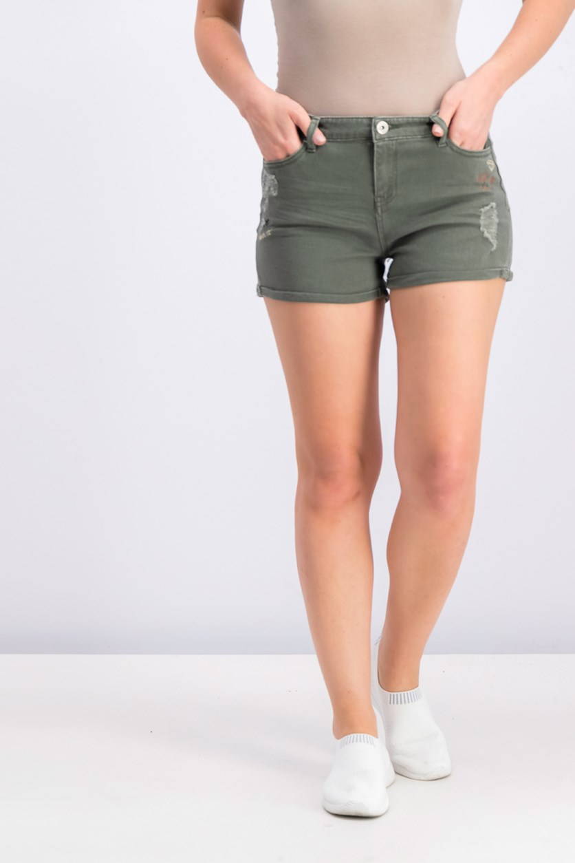 Juniors Embroidered Denim Short, Military Olive