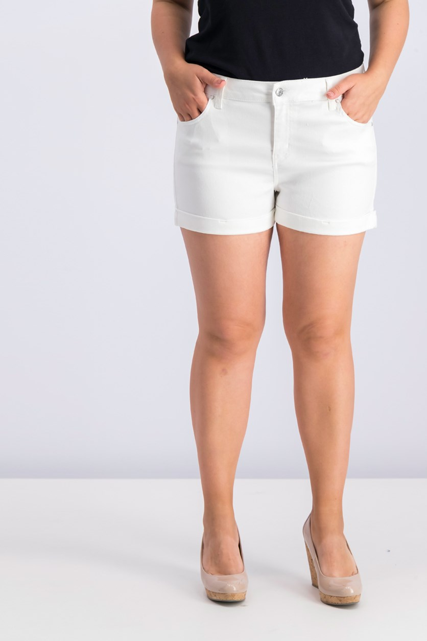 Juniors Cuffed Colored-Wash Shorts, Optic White