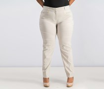 Curvy Fit Straight Leg Pants, Stone Wall