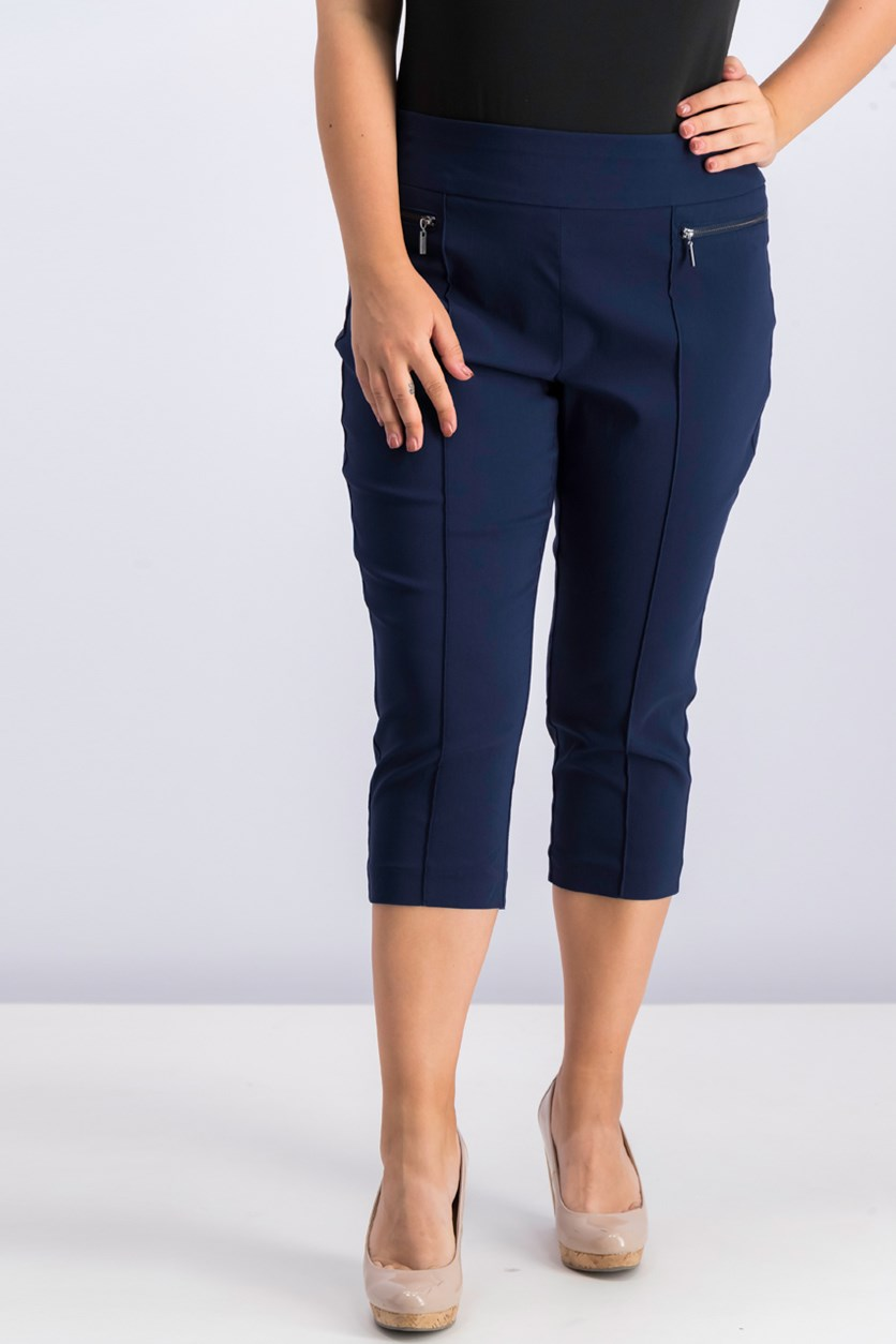 Style Co Petite Pull-On Cropped Pants, Industrial Blue