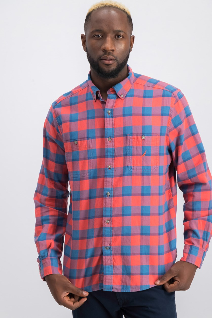 Mens Classic Fit Buffalo Plaid Shirt, Sun Baked Red