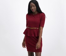 Connected Apparel Petite Belted Peplum Dress, Merlot