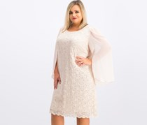 Connected Apparel Plus Size Angel-Sleeve Sequined Dress, Antique