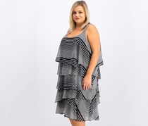 Signature by Robbie Bee Plus Size Printed Chiffon Tiered Dress, Black/White