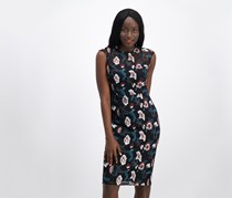 Donna Ricco Floral-Embroidered Illusion Dress, Black Combo