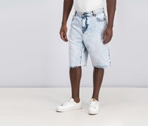 Lrg Men's Premium-Fit Raw-Edge Denim Short, Light Blue Wash