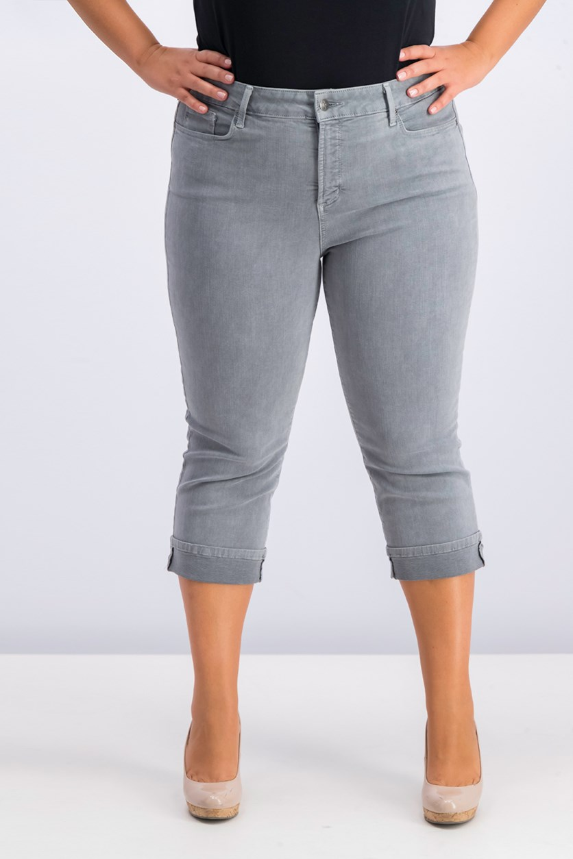 Women Cropped Tummy-Control Jeans, Grey