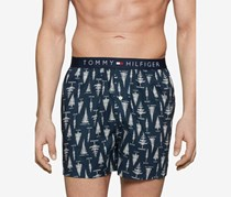 Mens Cotton Printed Woven Boxer, Ink Blue