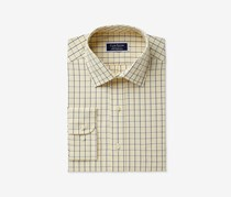 Club Room Men's Regular Fit Performance Windowpane Dress Shirt, Yellow/Navy