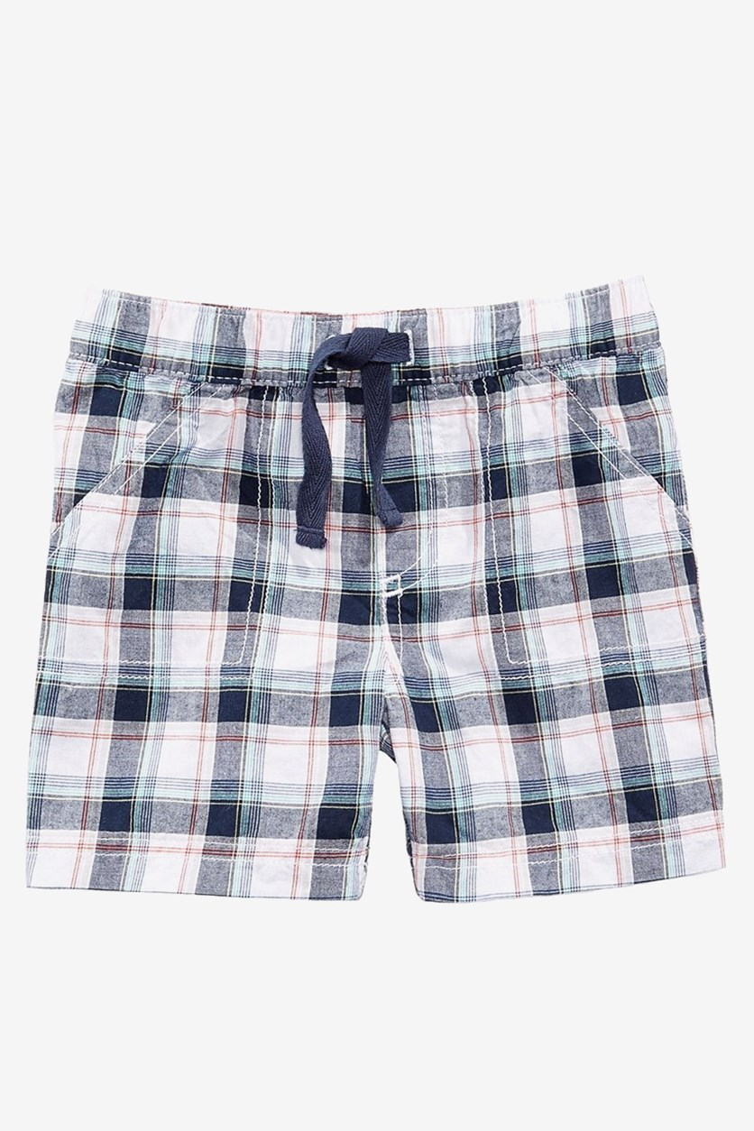 Baby Boys Plaid Cotton Shorts, Navy/White Combo