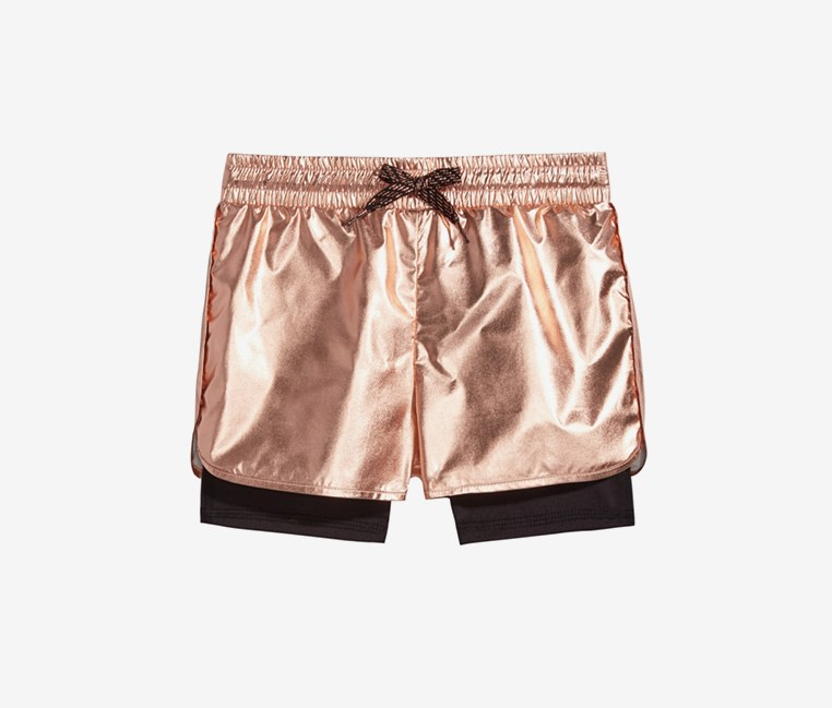 Toddlers Girls Metallic Layered-Look Shorts, Rose Gold
