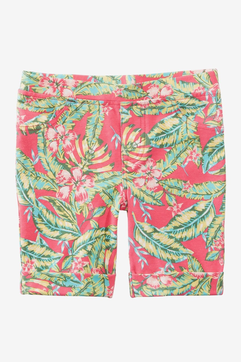 Little Girls Tropical-Print Bermuda Shorts, Berry Cooler
