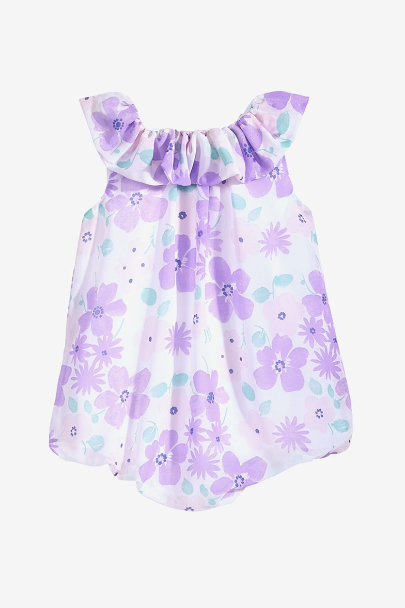 Baby Girls Floral-Print Bubble Romper, Lavender Pool
