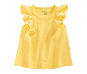 First Impressions Girl's Eyelet-Sleeve Cotton Top, Yellow
