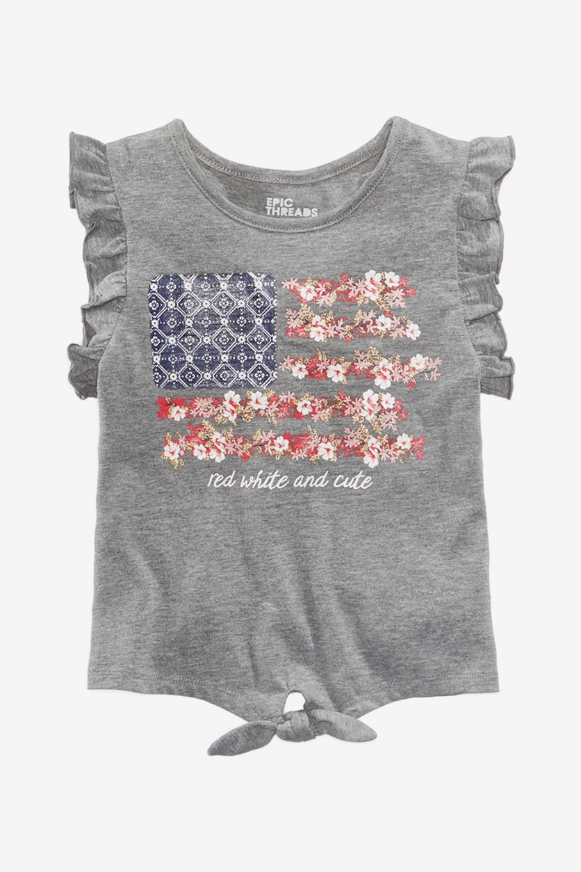 Toddler Girls Ruffle-Sleeve Graphic-Print T-Shirt, Pewter Heather
