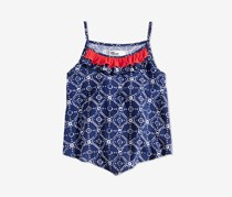 Epic Threads Little Girls Printed Ruffle-Trim Tank Top, Navy
