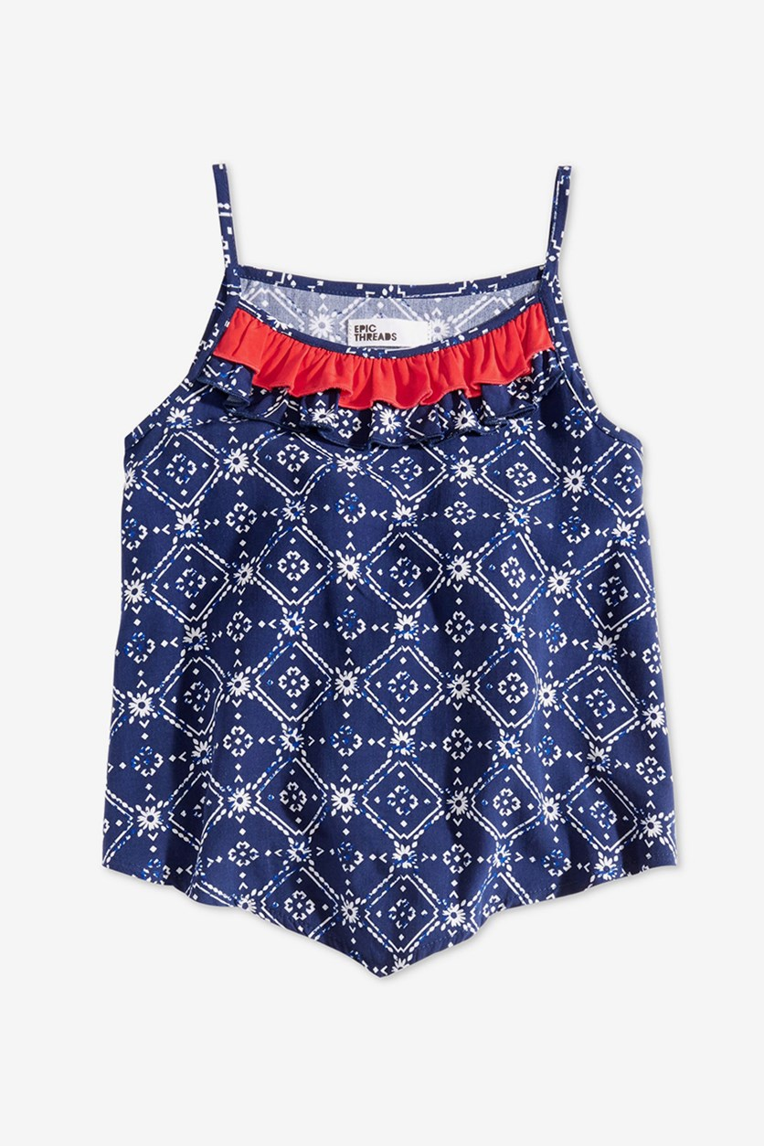 Toddler Girls Printed Ruffle-Trim Tank Top, Medieval Blue