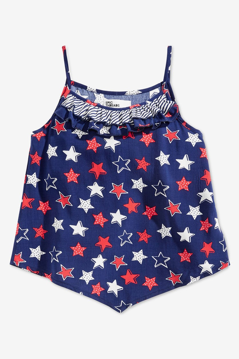 Toddler Girls Printed Ruffle-Trim Tank Top, Navy