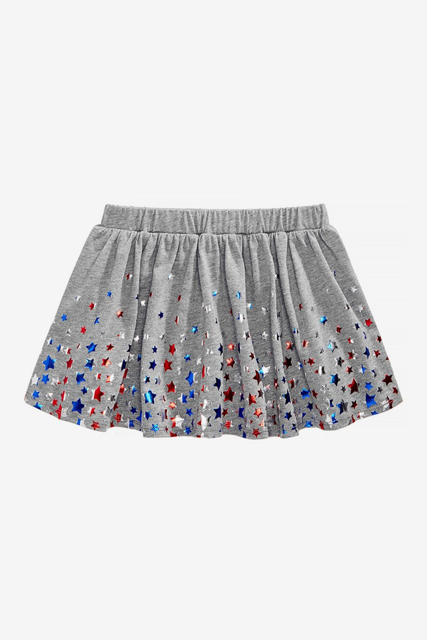 Little Girls Star-Print Scooter Skirt, Pewter Heather