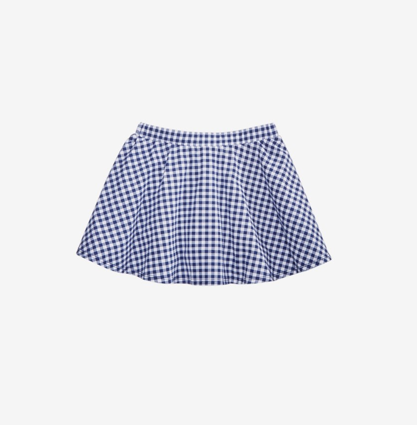 Toddler Girls Gingham Scooter Skirt, Blue
