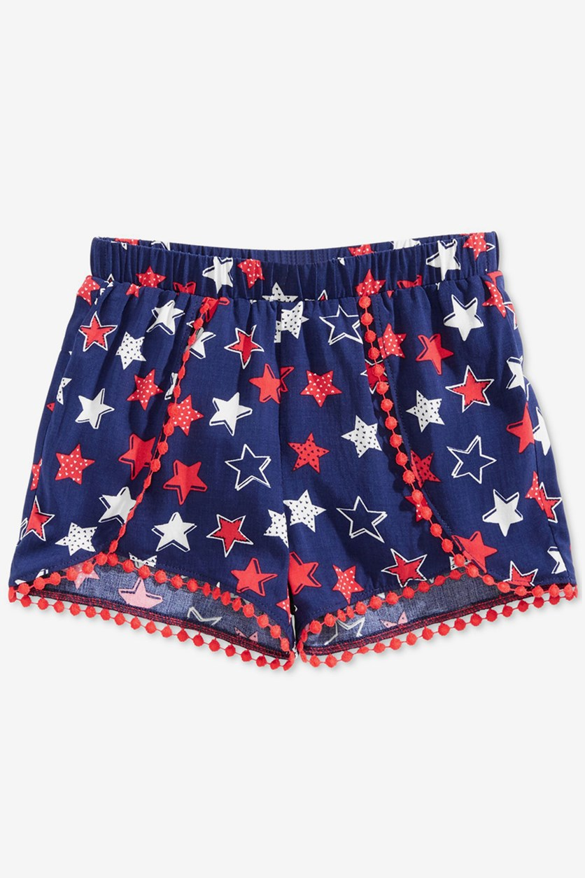 Toddler Girls Printed Pom Pom-Trim Shorts, Medieval Blue