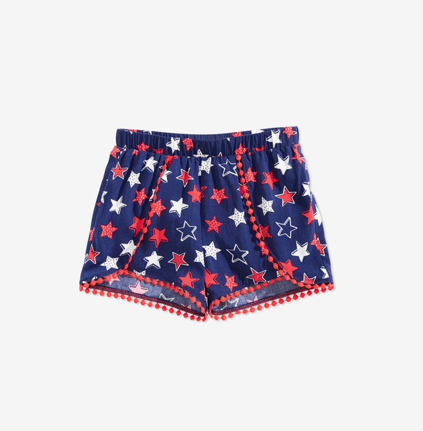 Little Girls Printed Pom Pom-Trim Shorts, Navy Blue/Red