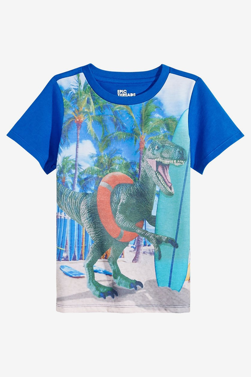 Toddlers Dino-Print Cotton T-Shirt, Blue