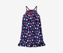 Epic Threads Printed Smocked-Front Dress, Medieval Blue