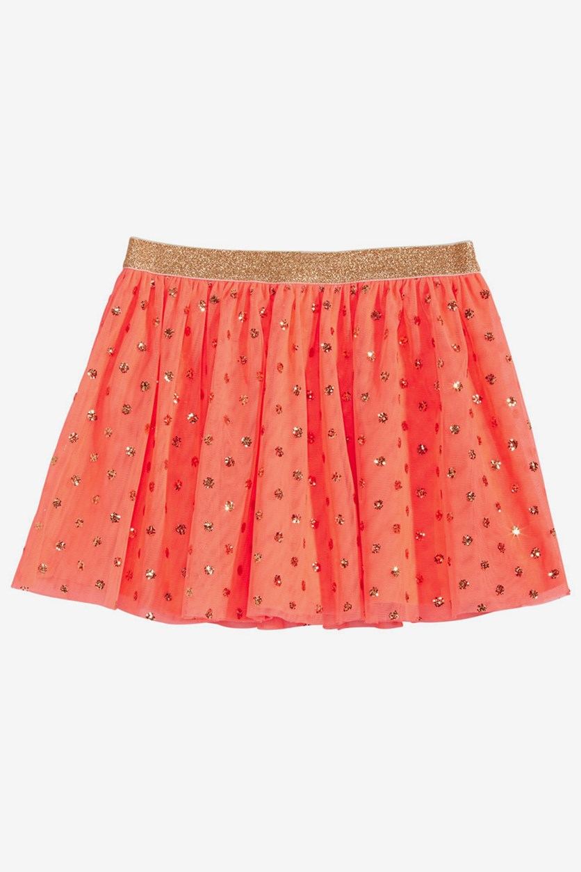 Little Girls Glitter Tulle Skirt, Peach Smoothie