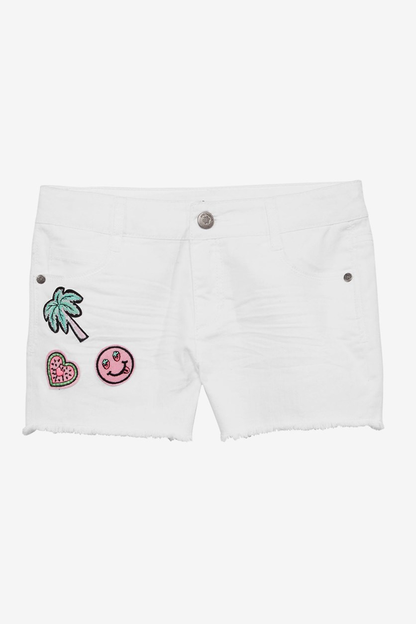 Kids Girl's Patched Twill Shorts, White